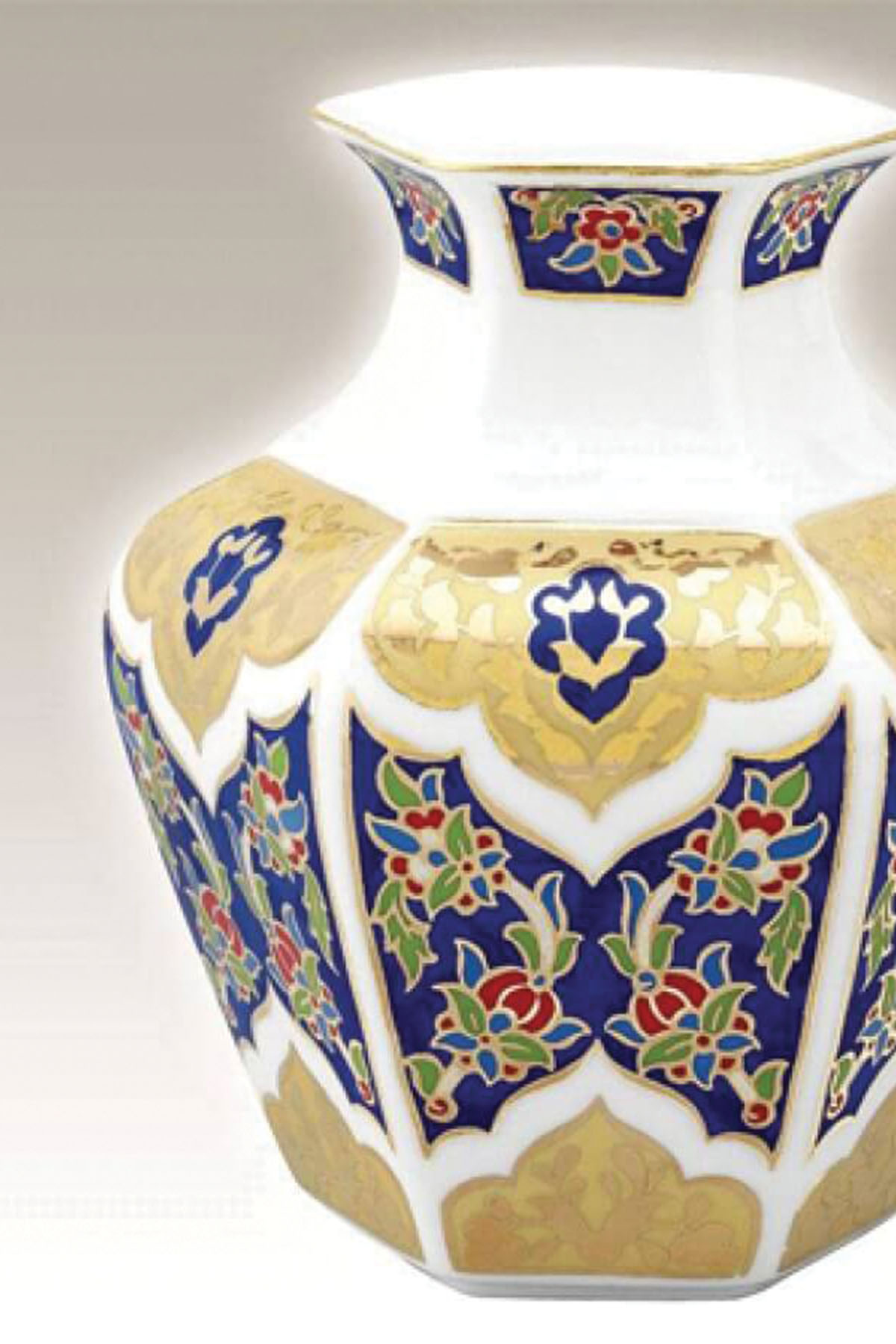 KÜTAHYA PORSELEN - Köşeli Vazo 15 Cm Dekor No:3880